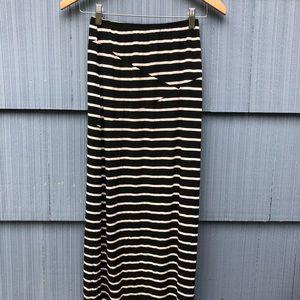 Black and White Cotton Maxi Skirt